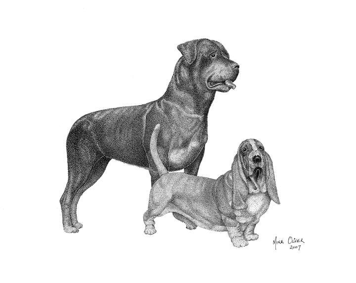 Dogs pointallism - Mike Oliver Pointallism