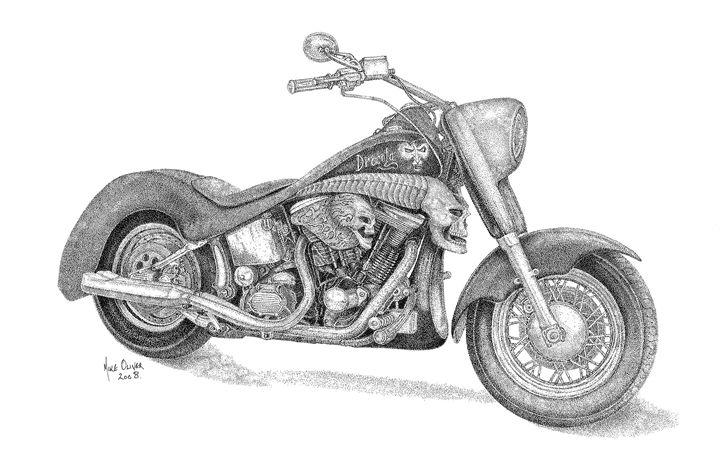 Harley Davidson Pointallism - Mike Oliver Pointallism