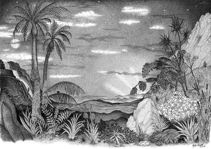 Landscape by night pointallism - Mike Oliver Pointallism