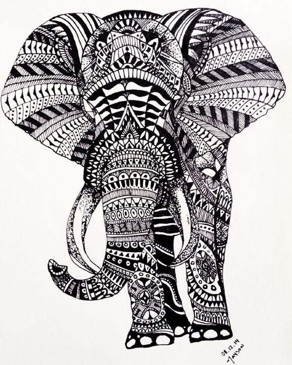 Elephant Zentangle - Jayson Art