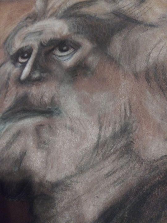 Mose's gaze upward to the Divine glo - Art of Joan frances fisher