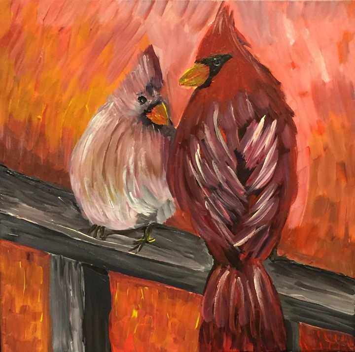 Cardinals on a Porch Railing - AcrylicArtistry