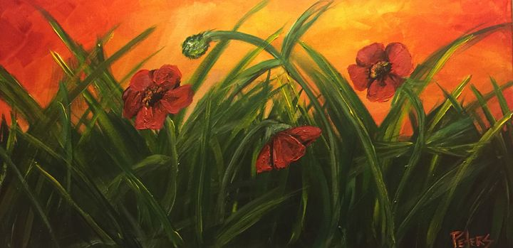 Poppies among the Grass - AcrylicArtistry