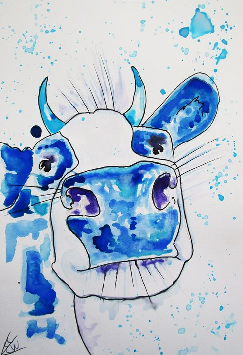 Blue Cow - CrystalWellingsArtz