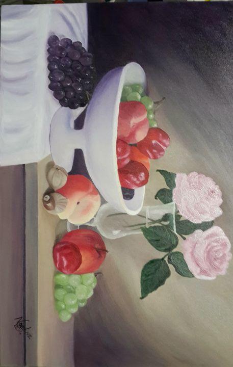 still lifeseasonal fruit in a bucket - NOELINE'S ART GALLERY