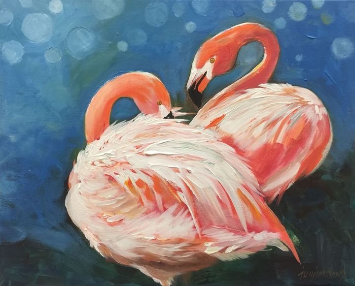 DANCE OF THE FLAMINGO - JUN JAMOSMOS FINE ART