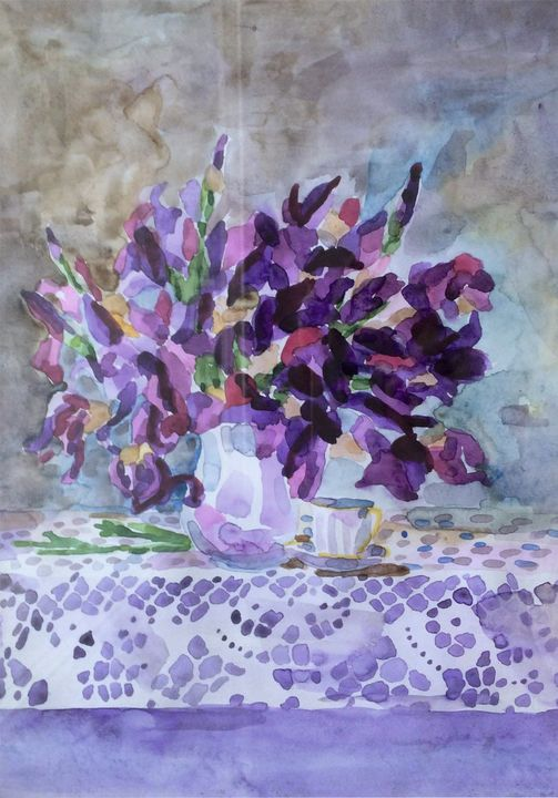 Still life with irises - Larisa