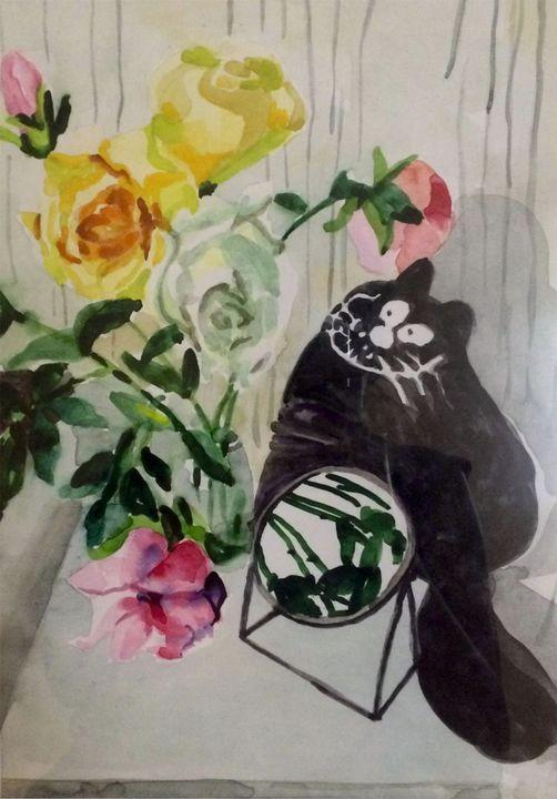 Still life flowers, mirror and cat - Larisa