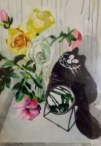 Still life flowers, mirror and cat