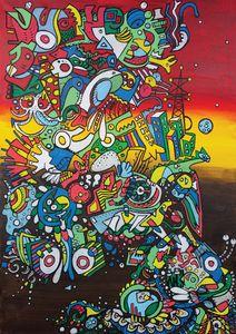 Abstract Art. Posca on canvas. 80x60