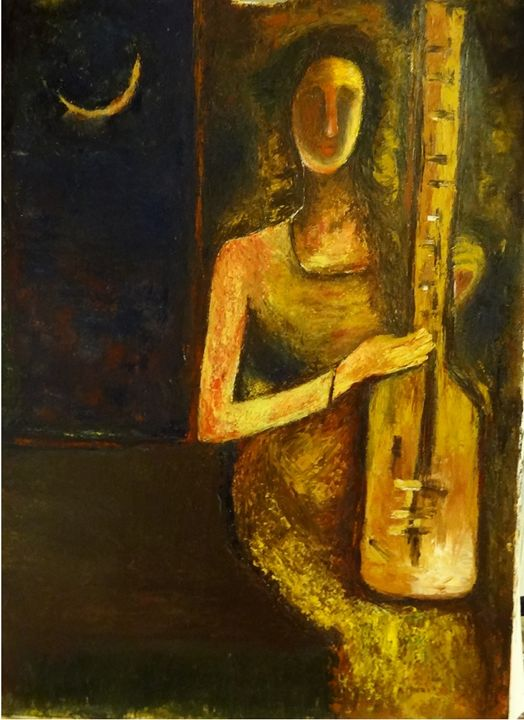 "woman playing guitar - Archana Santra""s painting"