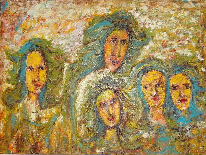 """different faces - Archana Santra""""s painting"""