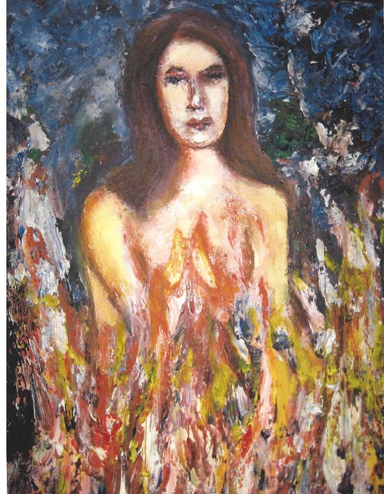 "woman burning - Archana Santra""s painting"