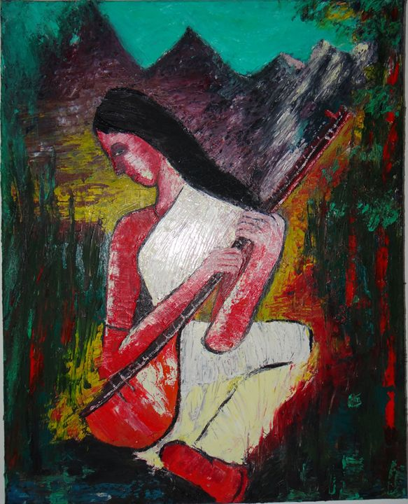 """woman  with musical instrument - Archana Santra""""s painting"""