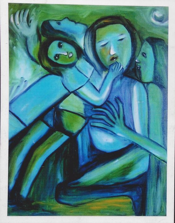 """mother and children - Archana Santra""""s painting"""