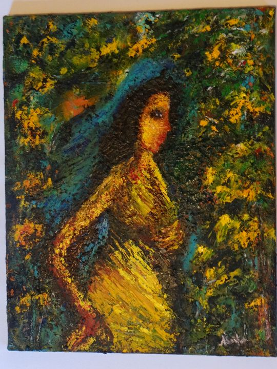 """woman in forest - Archana Santra""""s painting"""