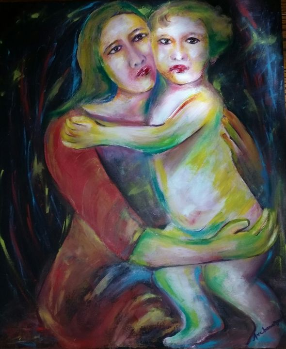 """mother and child - Archana Santra""""s painting"""