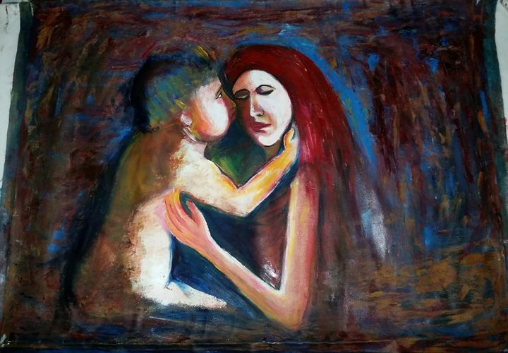 "mother and child - Archana Santra""s painting"