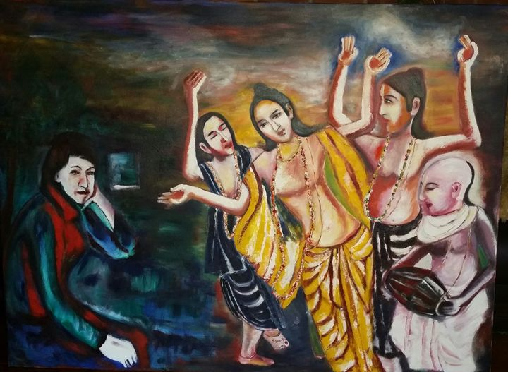 "chanting - Archana Santra""s painting"