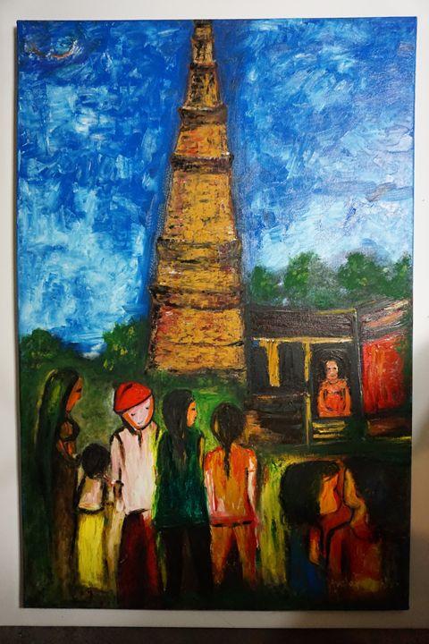"qutab  minar - Archana Santra""s painting"