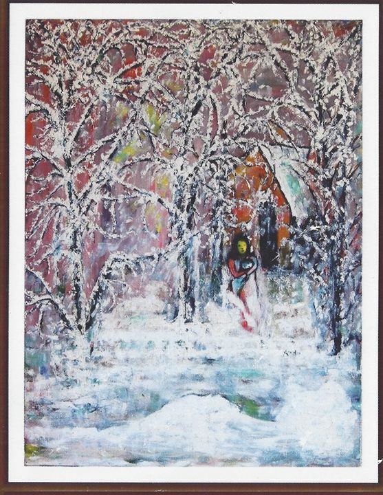"""Nature showering love by snowfall. - Archana Santra""""s painting"""