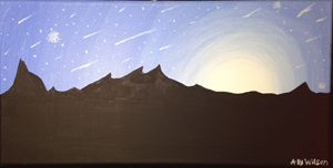 Starry Night Sky and Mountains