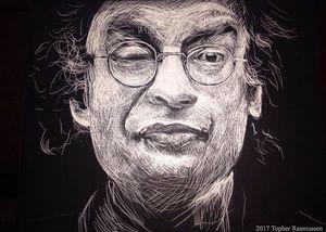 Allen Ginsberg Scratchboard Portrait
