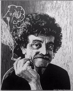 Kurt Vonnegut Scratchboard Portrait