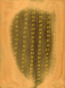 Abstract drawing with numbers bronze