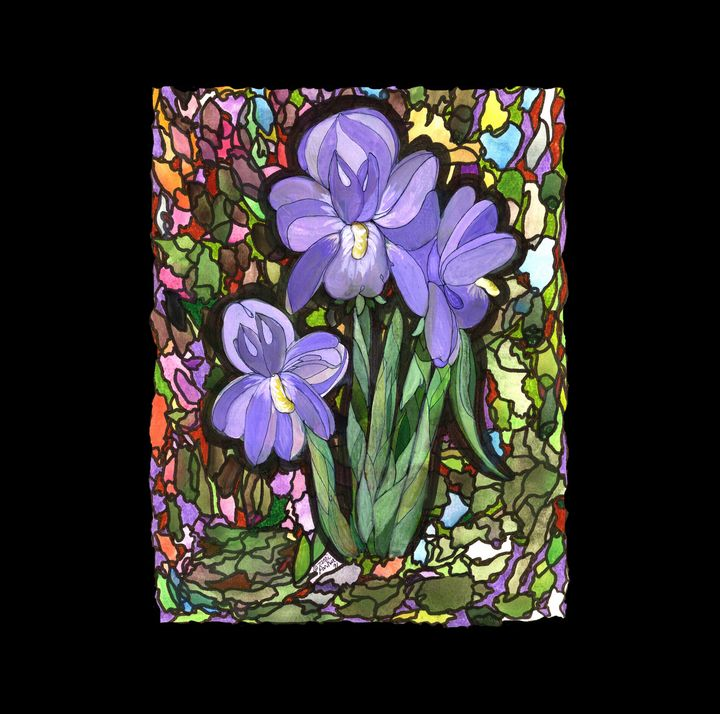 Purple Orchids on Stained Glass - Artgal Creations