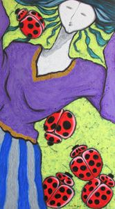 A GIRL AND LADY BUGS