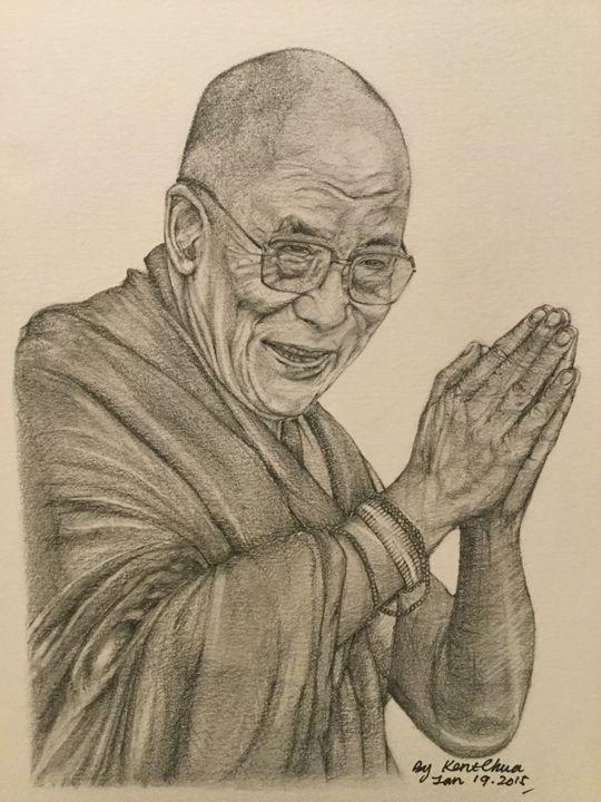 Dalai Lama Tenzin Gyato Drawing - Kent Chua