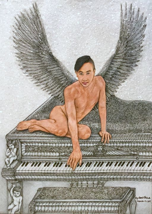 Angel And The Piano Drawing - Kent Chua