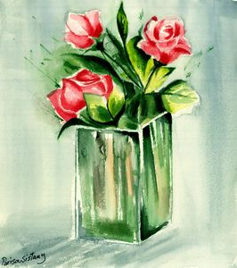 Glass Vase with Roses