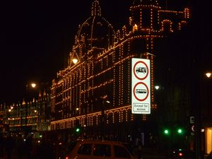 Harrods at night in old London town
