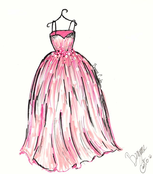 Pink Ballgown Fashion Sketch - Brynne Casto - Drawings ...