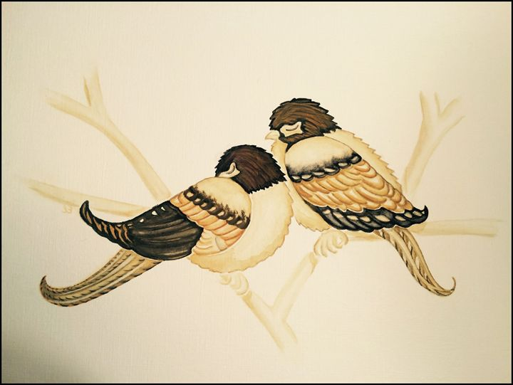 Sleeping Love Birds Ellery Gallery Drawings Illustration Animals Birds Fish Birds Oriole Artpal