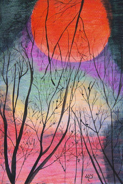 Bush Fire Moon - Wendy's Art