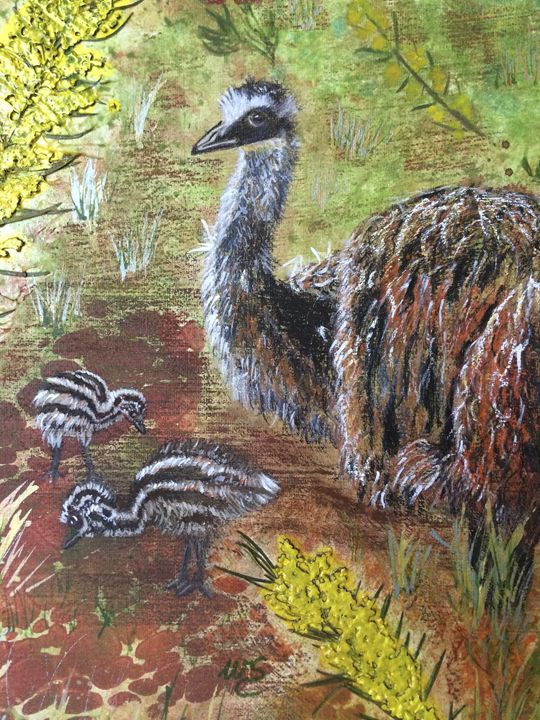 Family of Emus - Wendy's Art