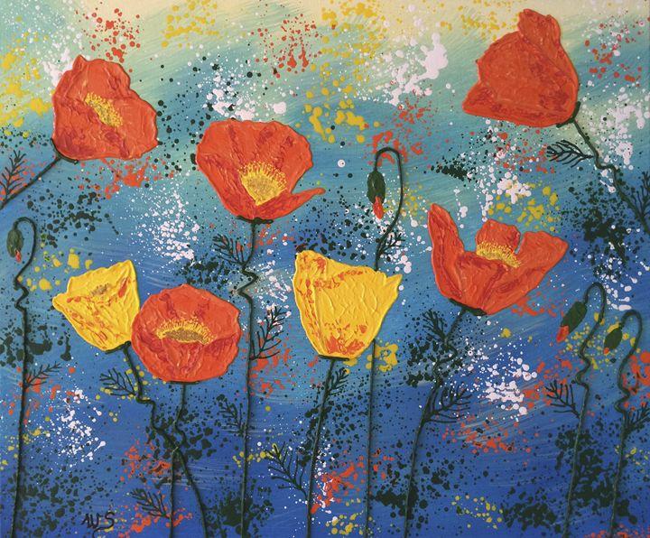 Orange Poppies on Parade - Wendy's Art