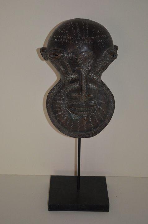 African bronze alloy mask - Tribal art