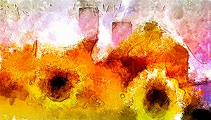 Abstract with flowers and cups