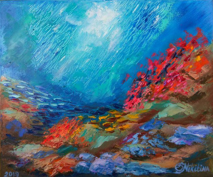 Abstract seascape, Red fish - Olga Nikitina