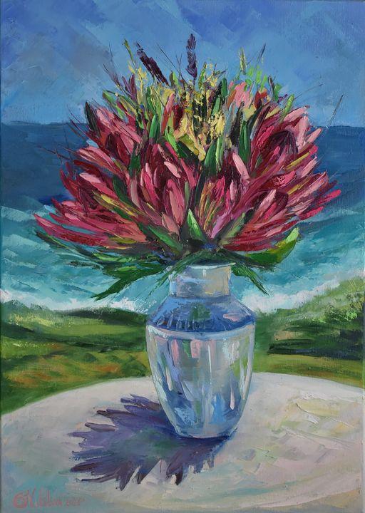 Protea in vase - Olga Nikitina