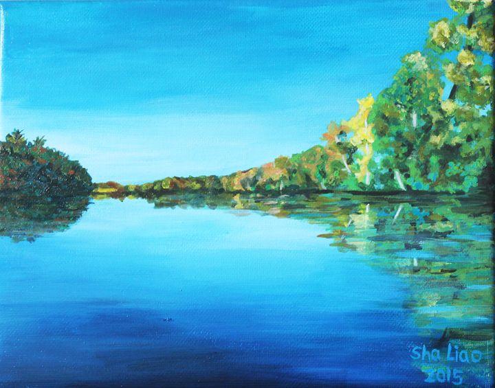 Maine Stillwater landscape - Sha Liao Art