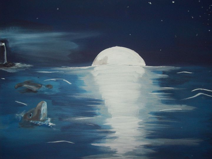 Moonlight lit ocean - Graphicsandpigments