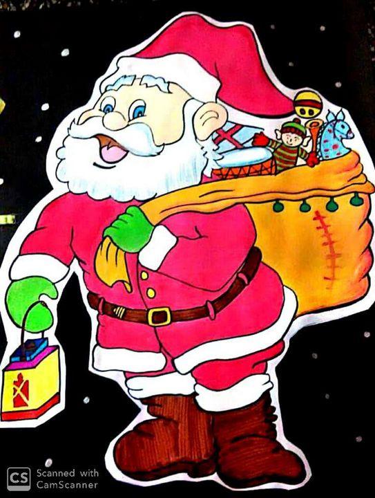 Santa with a bundle of joy - Sindhuja Fine Arts