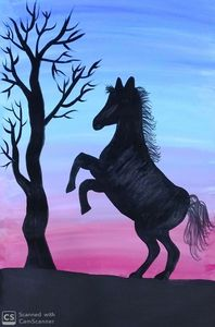 Lonely Horse under a barren tree