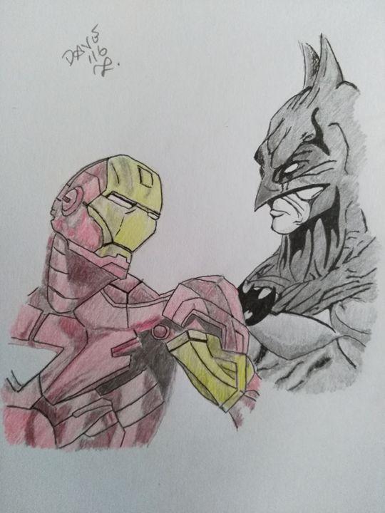 Iron Man vs Batman - Drawings By A Bloke Called Dave