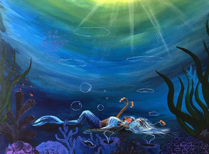 Underwater Mermaid Painting - Carolan Frisina